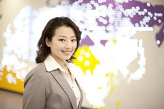 Portrait of businesswoman in commute Stock Photos