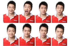 Young man's different facial expression - stock illustration