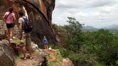 Tourists at the Sigiriya (Lion Rock) mount. Stock Footage