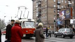 Public transportaion (tram) Kiev Stock Footage