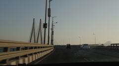 Bandra Worli Sea Link at Day Stock Footage