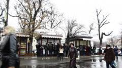 Street farm market in Kiev Stock Footage