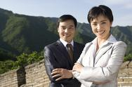 Stock Photo of Businesspeople on the Great Wall