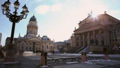 French Dome, Time-lapse sun setting behind Gendarmenmarkt in Berlin Winter Stock Footage