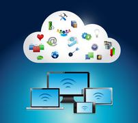 Wifi electronics connection and cloud illustration Stock Illustration