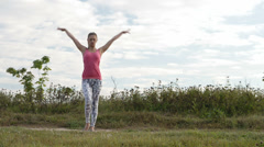 Girl training outdoor. Stock Footage