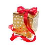 gift in gold box with a red bow. isolate on white background - stock photo