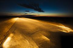 Amazing scene of road and the sky at night in Inner Mongolia province, China - stock photo