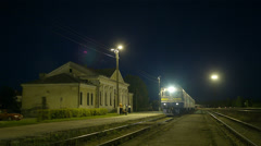 Train coming to rural station. Stock Footage