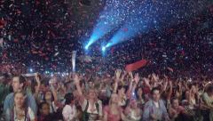 Crowd of fans cheering and dancing Stock Footage