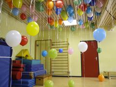 Gym hall with balloons Stock Photos