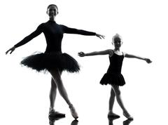 woman and little girl  ballerina ballet dancer dancing silhouette - stock photo