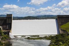 Water Flowing Dam Wall Valley Stock Photos