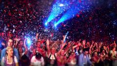 Stock Video Footage of Concert crowd  in Arena under confetti rain