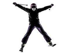 One woman skier skiing silhouette Stock Photos