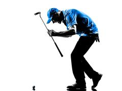 Happy man golfer golfing  silhouette Stock Photos