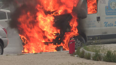 Small truck burning  Stock Footage