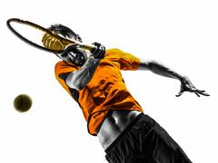 man tennis player portrait silhouette - stock photo