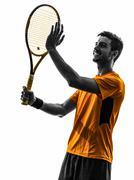 man tennis player portrait applauding silhouette - stock photo