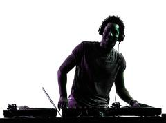 Disc jockey man silhouette Stock Photos