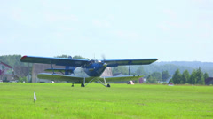 Antonov An-2 turboprop biplane before taking off  Stock Footage