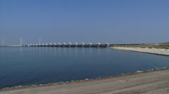 Pan Eastern Scheldt storm surge barrier North Sea side to Roggenplaat Stock Footage