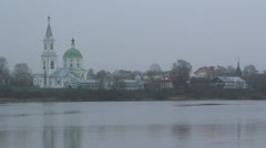 Tver. river and church. Stock Footage