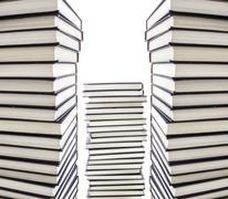 Stock Photo of piles of dark blue hardcover books