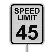 Speed limit 45 sign Stock Photos
