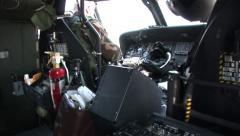 Cockpit shot of Blackhawk helicopter Stock Footage