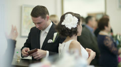 Bride and groom in register office. Stock Footage