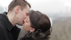 Bridal pair kissing. Stock Footage