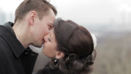 Stock Video Footage of Bridal pair kissing.
