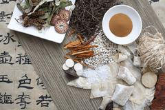 Above Vew of Chinese Herbs and Script Stock Photos