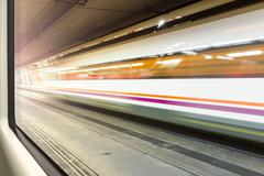 motion blur train - stock photo