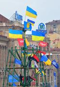 Flags of ukraine and opposition parties in kiev Stock Photos