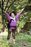 Hiker Appreciating Nature - stock photo