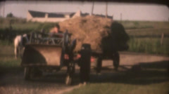 Vintage  movies 8mm, farm tractor trailer Stock Footage