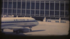 vintage  movies 8mm, Airport, jets taxiing - stock footage