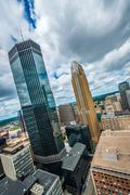 downtown minneapolis and surrounding urban - stock photo