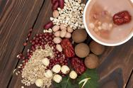 Stock Photo of Chinese traditional porridge and ingredients