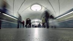 Crowds of people boarding trains arriving underground subway station. Timelapse. Stock Footage