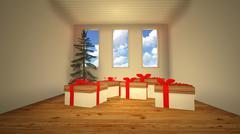 gift box in room - stock illustration
