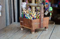 Stock Photo of colour pencils in basket