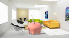 Coin box, piggy bank, money box, Stock Footage