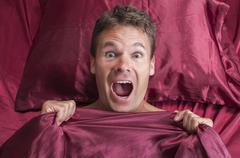 nightmare in bed - stock photo