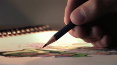 Drawing in Paper Close Up Stock Footage