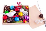 Stock Photo of christmas decorations - cones, balls, berries and paper