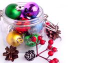 Stock Photo of new year bright color decoration ball in glass can