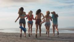 Teenage Girls Run Toward Water, Piggyback, Twirl, And Dance Stock Footage